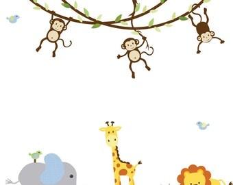 Jungle Animal wall decal, Monkey Vine Decal, Jungle Decal, giraffe decal, monkey decal, elephant wall sticker