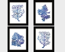 Indigo Blue Coral Prints, Blue Sea Coral Print Set of FOUR, Coral Wall Art, Coral Print, Sealife print Blue White