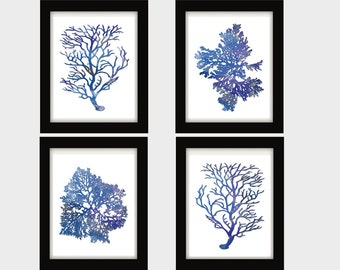 Indigo Blue Coral Prints, Blue Sea Coral Print Set of FOUR, Coral Wall Art, Coral Print, Sealife print Blue White