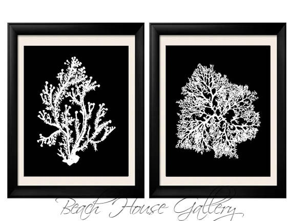 Black white coral wall art white black coral print black for Black and white mural prints