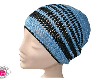 Beanie blue with black stripes, crocheted hat