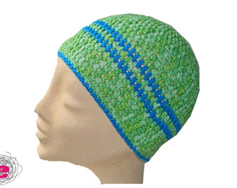 crocheted hat green with blue Stripes