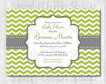 DIGITAL Green and Gray CHEVRON - Baby Shower or Birthday Invitation Invite Boy or Girl You Print
