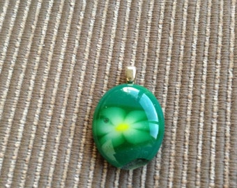 Green and yellow 1 inch round fused glass pendant
