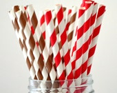 Red and Brown Paper Straws (50) RED and Brown Straws: Cowboy Party, Cake Pops, Retro,Vintage, RED and BROWN Weddings, Red and Brown Party - LetsPartyCreations
