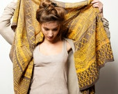 Yellow and Brown-grey Woman scarf, hand printed with an African inspired pattern by Dikla Levsky