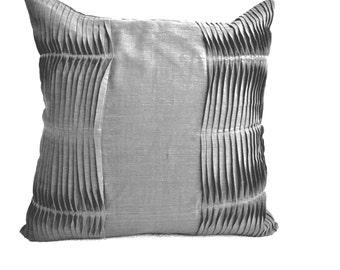 Decorative Pillow Cover, Grey Pillow, Pleated Pillow, Cotton Throw Pillows, Gray Pillow, 16X16 Texture Pillow, Valentines Gift Grey Pillow