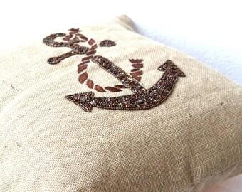 Anchor pillows- Nautical pillows- Beach decor burlap pillow covers -Embroidered Pillow - 20 x 20 inches