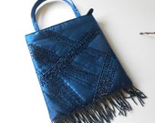 Beaded Evening Bag Vintage Blue Beaded Purse Midnight Blue