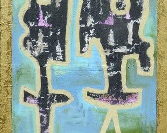 "Art Painting ORIGINAL Contemporary abstract art - acrylic modern painting -48 x 34 x 1.5"""