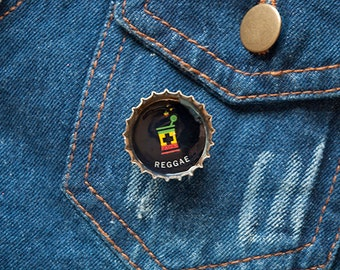Reggae RX Upcycled Bottle Cap Rasta Button