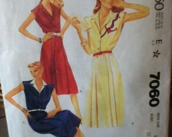 """McCalls Sue Wong Dress Pattern 7060 Size: 8, Bust 31"""", Waist 24"""", Hip 33"""""""