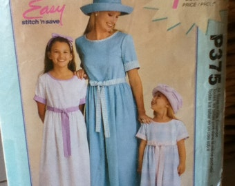 McCalls Easy Dress Pattern P375, for Misses or Children All sizes included in envelope