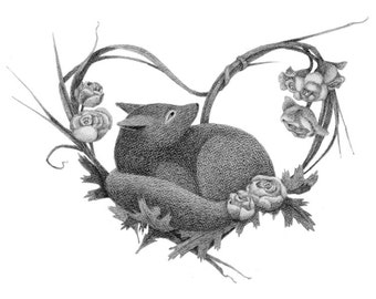 Fox with Woven Roses - fox art - fox drawing - fox illustration - fox print - 5x7 print
