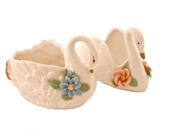 Two Vintage White Swan Trinket Dishes -- One with Pink Flowers, One with a Blue Flower