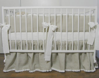 Linen Crib  bedding - gathered skirt and 4 side bumper - Nursery bedding