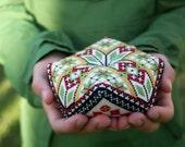 Custom Order - hand-embroidered Norwegian biscornu