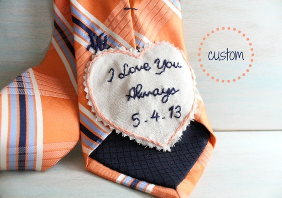 Presents For Groom From Bride: Groom Gift From Bride. Hand Embroidered Tie Patch. Groom Gift