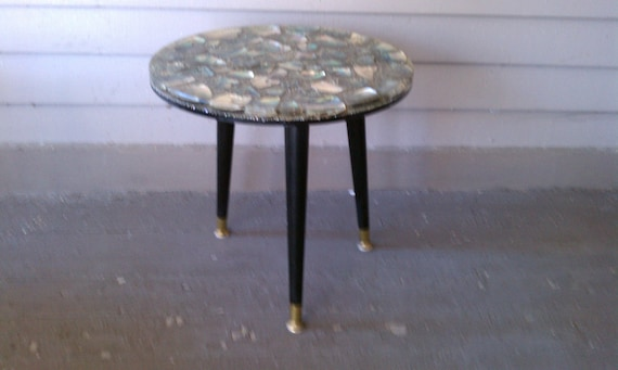 Vintage Wondermold Resin Abalone Shell Table 1960 S