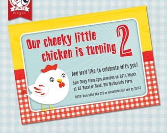 Kids country chicken birthday invitation // Cute // Custom, Printable