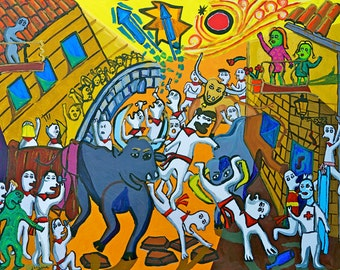 Running of the Bulls, Pamplona - 18 in. x 24 in. Signed Print
