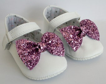 Glitter Bow Baby Shoe Clip, Pair of pink glitter bow shoe clips,  shoe clip, handmade shoe clips, bow shoe clips