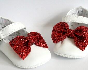 Glitter Bow Baby Shoe Clip