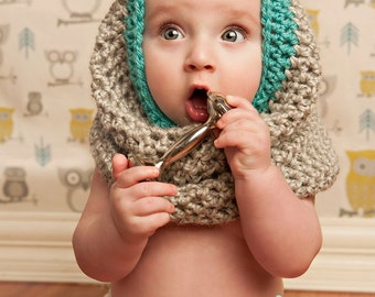 Crochet Baby Bear Cowl Pattern : Crochet Childs Bear Cowl, Baby Bear Hood, Child Bear Cowl ...
