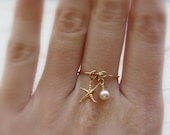 Charm ring, Beach ring, Gold filled ring, Starfish ring, Dainty ring, Delicate ring, Pearl ring