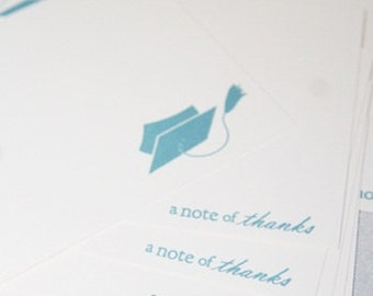 Graduation Cap Thank You Note Cards Stationery Set of Eight, Note of Thanks Graduate Cards