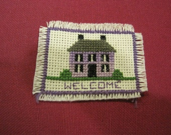 Hand Made Crewel Dollhouse Home Welcome Mat