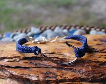 Hooked On You, Navy Blue Roped Steel Fish Hook Bracelet