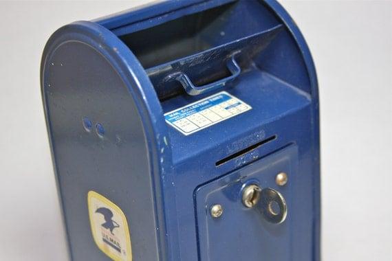 Vintage Blue U.S. Mailbox Bank USPS