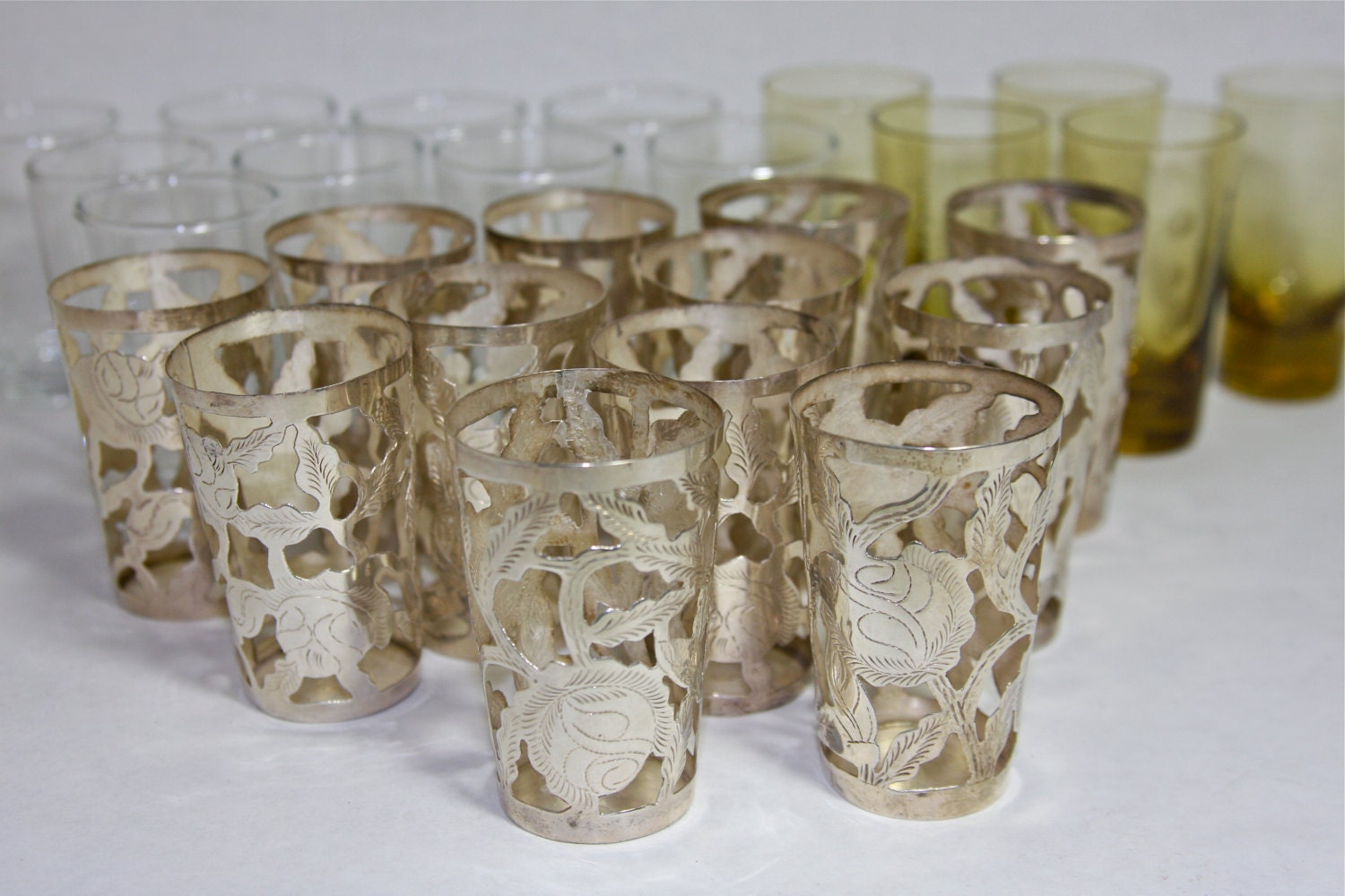 Sterling Silver Overlay Mexican Shot Glasses 12