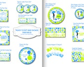 Ready to Pop Baby Shower Printable Decorations  - Green and Blue - Personalized, Customized Party Pack