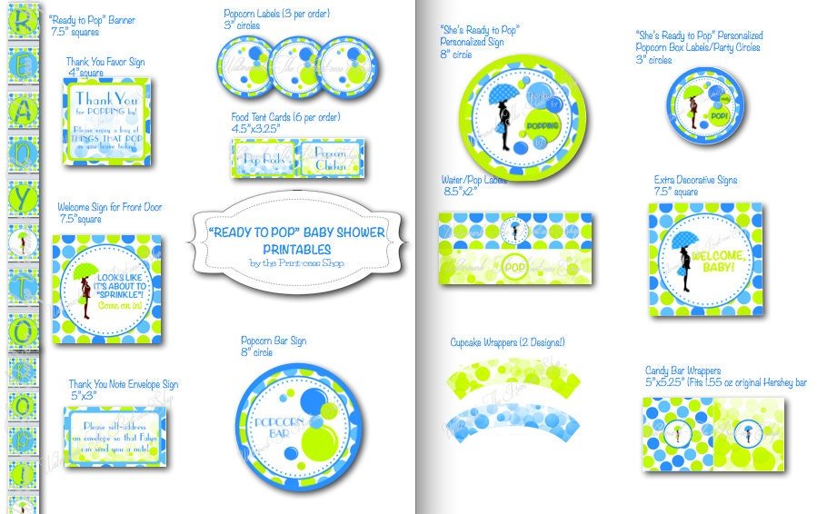 ready to pop baby shower printable decorations by theprintcessshop