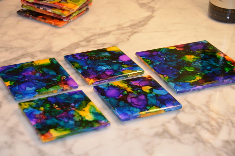 Items Similar To Handmade Alcohol Ink Ceramic Coaster Set