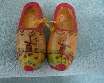 Vintage Handcarved and Painted Miniature Wooden Decorative Shoes Made in Holland