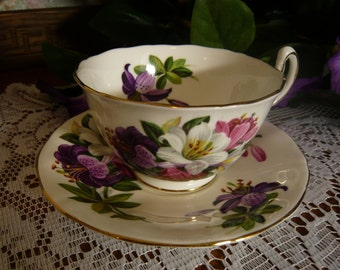 Vintage Fine Bone China Adderley Cup and Saucer Lillies