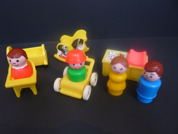 Vintage Fisher Price Little People Yellow Nursery Furniture