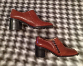 brown leather, made in Spain, chunk heel, zip side shoes, women's size 8 B