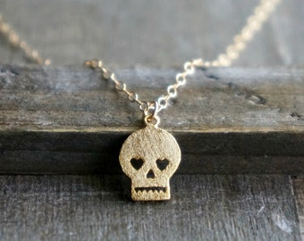 Sugar Skull Necklace / Gold Skull Necklace on Gold Filled Chain ... day of the dead jewelry tiny dainty delicate