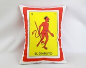 Diablito (little devil) Loteria Pillow Cover with Zipper - Mexican Chic Cushion, Day of the Dead/Dia de los Muertos