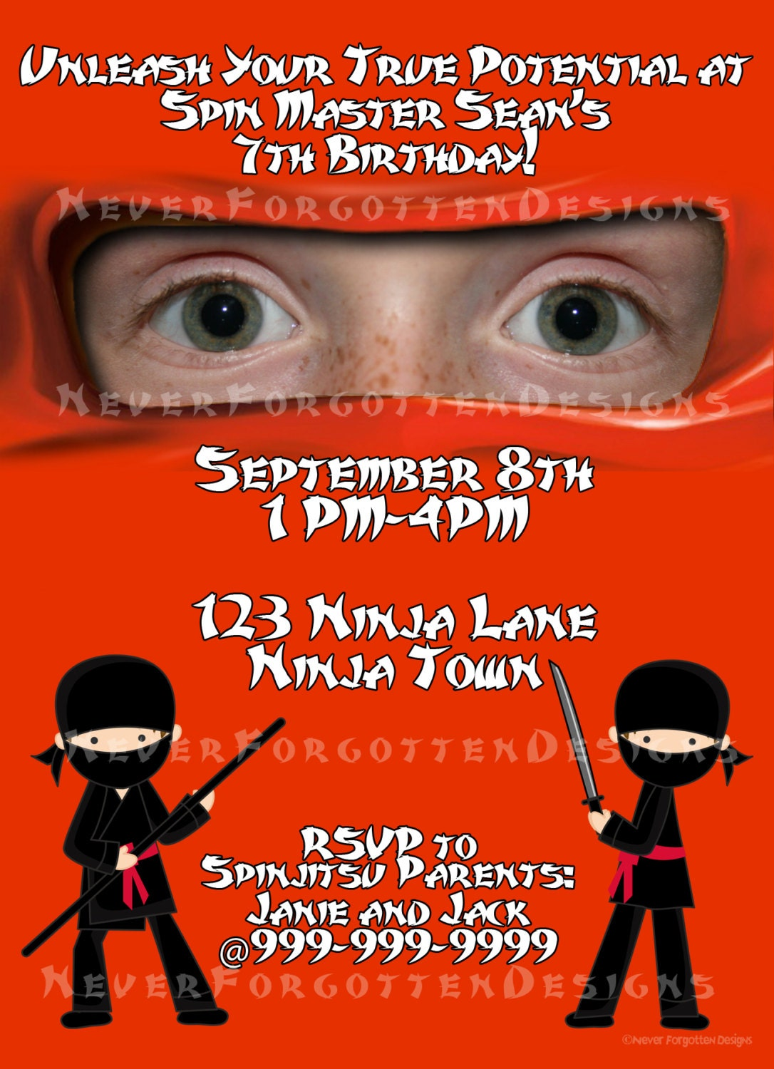 Ninja Birthday Party Invitations with YOUR CHILD\'S EYES