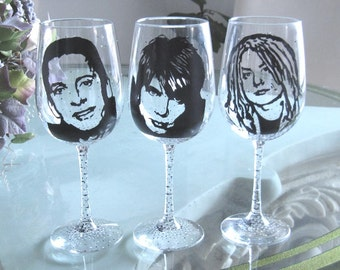 Hand Painted Wine Glass - Set of 3 - GOO GOO DOLLS