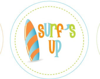 """lil' Surfer - 2"""" Circles - Cupcake toppers/Tags (digital file)"""