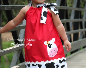 Super Cute Girl Cow farm pillowcase dress or Halter style dress