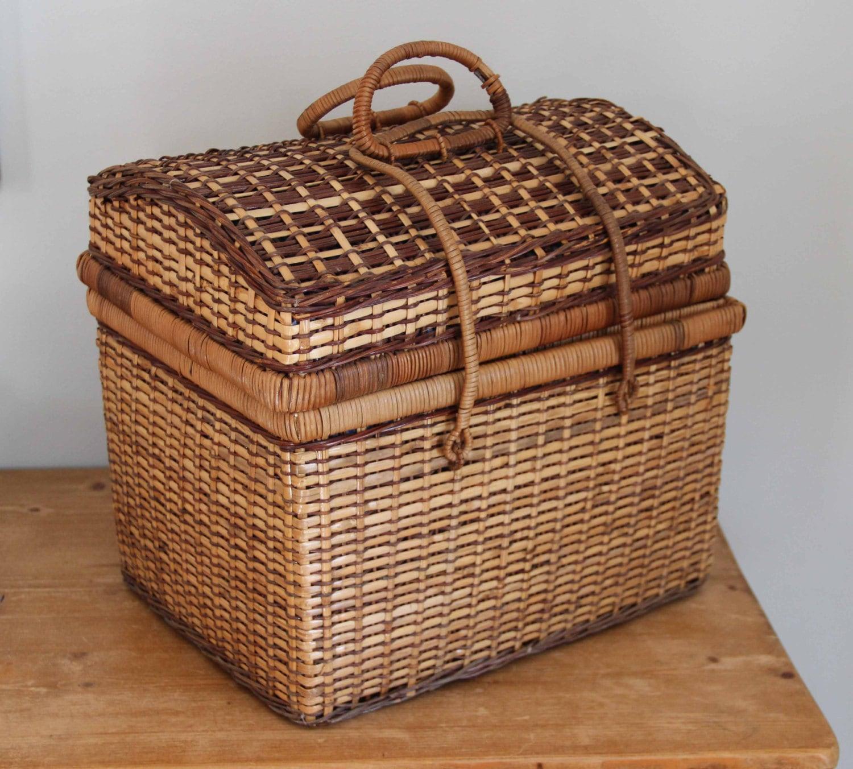 Knitting Basket With Handles : Large vintage wicker rattan basket knitting sewing