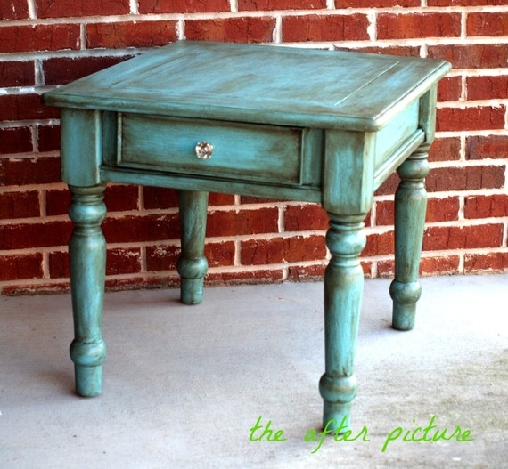 Distressed Blue Coffee Table: Distressed Turquoise Blue Accent Side Tablereserved For