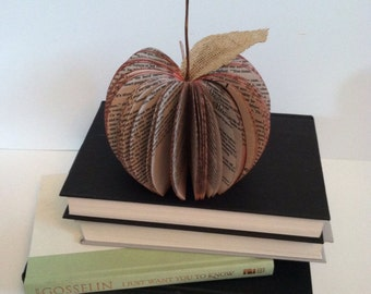 SMALL  Upcycled Book Apple, book apple, large apple book